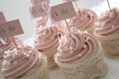 Yummy pink cream frosting cupcakes with lace embellishment and sprinkles.  Tag could be changed for any theme