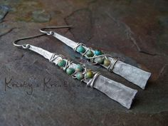 """Kristy Abner - silver and turquoise.  """"please respect our creative talents - and your own - and do not copy these designs to offer them for sale. You may make a pair for yourself or as a gift."""""""