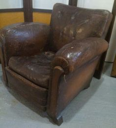 Lovely,  deep,  comfy leather club chair from France.  About 1930. £SOLD http://www.thehoarde.com/RED-ANTIQUES.asp.