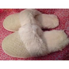 Victoria Secret Slip-On Slippers Waffle top with faux fur Faux Fur lined Ivory in color Size Large Rubber bottoms with grip lines Brand new!!!!! Victoria's Secret Shoes Slippers