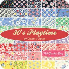 30's Playtime Fat Quarter Bundle Chloe's Closet for Moda Fabrics