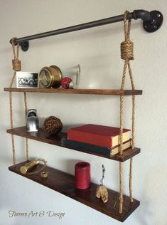 Rustic Hanging Shelf Shelves Rustic Shelves by FerreroArtDesign