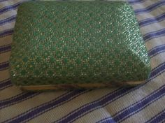 Vintage Metal Jewelry Display Spring Box Green Textured Design