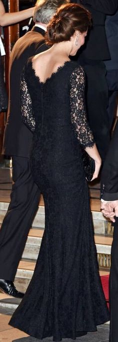 Back detail. The Duke and Duchess of Cambridge arriving at Royal Albert Hall 13 Nov 2014. The Duchess is elegant in a Diane Von Furstenberg black lace evening gown. Absolutely gorgeous.