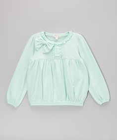 Take a look at this Ice Blue Bow Peasant Top - Toddler & Girls by Trish Scully Child on #zulily today!
