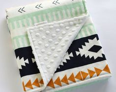 Arizona Aztec Minky Baby Blanket Fitted Crib Sheet by DelvaBTree