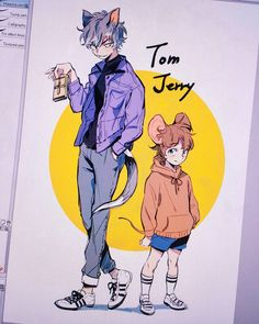Disney & Cartoon In Anime - Tom & Jerry Anime Vs Cartoon, Cartoon Shows, Cute Cartoon, Disney Drawings, Cartoon Drawings, Cute Drawings, Cartoon Characters As Humans, Anime Characters, Old Cartoons