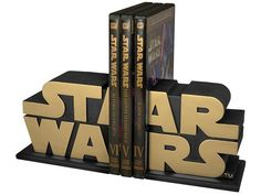 The Dark Side of the Force — Gold Star Wars Logo Bookends by Gentle Giant