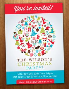 Personalized+Christmas+Party+Invitation+Print+or+by+HuntersPlace,+$14.00