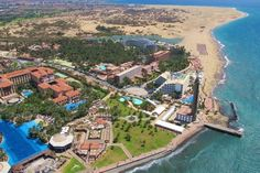 Spain, Canarias, Gran Canaria, An aerial shot of Maspalomas Natural Dune Reserve Beach Resorts, Hotels And Resorts, Grand Canaria, Costa, Family Friendly Resorts, Non Plus Ultra, Shore Excursions, Canario, La Gomera