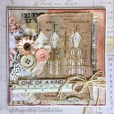 SewPaperPaint: Tim Holtz Dress Form Stamp Vintage Card and GIVEAWAY winner!