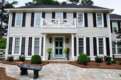 Best exterior paint colors for house trim revere pewter 40 ideas Best Exterior Paint, Exterior Paint Colors For House, Paint Colors For Home, Paint Colours, Gray Exterior, Colonial House Exteriors, Colonial Exterior, Traditional Exterior, Revere Pewter