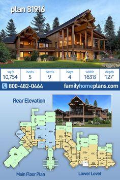 Luxury House Plans, Dream House Plans, Modern House Plans, Building Plans, Building A House, Dreams Resorts, Log Home Plans, Lodge Style, Backyard Garden Design