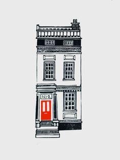 LAST ONE  House 2  Limited Edition Linocut par JeffJosephineDesigns, £35,00