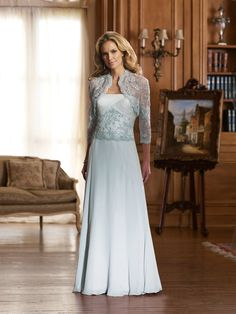 Chiffon and Lace Gown  This would make a cute renewal of vows dress