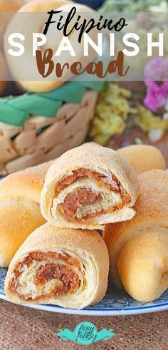 Spanish Bread is a favorite 'merienda' or afternoon snack in the Philippines that can be found in many local bakeries. You can also make your own and it is easy. We also found a way to keep that sweet buttery filling from oozing out. So you enjoy the full Filipino Desserts, Asian Desserts, Filipino Recipes, Filipino Food, Pinoy Food, Pastry Recipes, Bread Recipes, Baking Recipes, Dessert Recipes