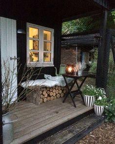 modern rustic outdoor living deck/verandah/log store - Home Decor Farmhouse Patio Doors, Farmhouse Front Porches, Rustic Farmhouse, Rustic Outdoor, Rustic Deck, Porch Decorating, Decorating Ideas, Windows And Doors, Modern Rustic