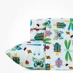 Queen Snug As A Bug Twin Sheet Set Green - Highlights : Target Kids Sheets, Twin Sheets, Twin Sheet Sets, Textile Patterns, Print Patterns, Twin Beds For Boys, Green Highlights, 100 Cotton Sheets, Beautiful Butterflies