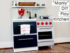 """Realistic play kitchen. The website calls it a """"boy's kitchen"""" or manly but I think it's gfreat for anyone who wants a more realistic looking kitchen. This looks so much better than those plastic deals."""