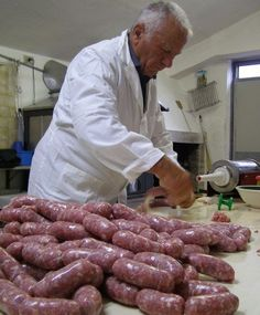 Our most favorite winter tradition is stuffing sausages with Vittorio   & then hanging them from the rafters of our farmhouse to dry in the ...