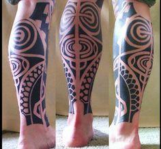 Polynesian leg tattoo #tribaltattoos #tattoos #legtattoo #hawaiian #polynesian #tatau #tribal