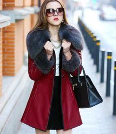 2015 mujeres del estilo Natural mullida cuello de piel chaqueta de cuero  mujer invierno larga delgada 3dd049b12049