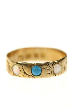 Victorian 18k Gold Turquoise & Opal Ring by ArtifactVintage, $725.00