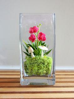 Miniature Pink Vanda Orchid Terrarium by Miss Moss