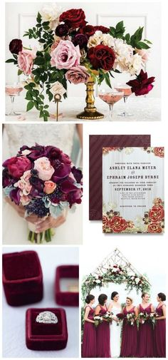 Deep rich berry hues with a touch of organic feel by /weddingpaper/