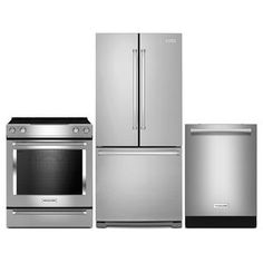 """[KitchenAid 22.1 Cu. Ft. Refrigerator, Slide-In Electric Range and 24"""" Dishwasher - Stainless Steel]"""