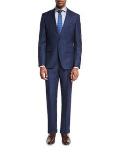 BOSS HUGO BOSS TEXTURED WOOL TWO-PIECE SUIT, HIGH BLUE. #bosshugoboss #cloth #