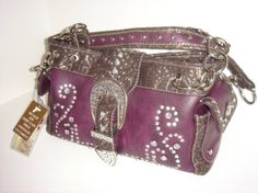 Purple Leather Rhinestone Bling Concealed Carry Purse.