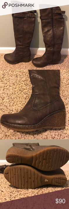 Wedge boots Extreme by Eddie Marc knee height wedge boots with zipper on the inside of the leg. Dark Brown boots with lighter brown rubber wedge sole. Two buckles at the top of the boot. Size 40 (equivalent to a 9.5/10). Worn a few times, like new condition!! Shoes Over the Knee Boots