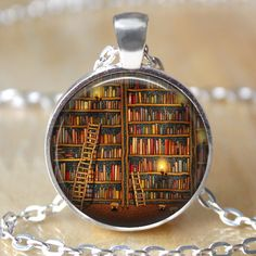 Vintage library necklace , Book lover pendant , Books jewelry , librarian gift, writer ,teacher , book nerd gift necklace