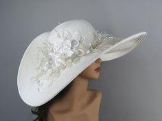 Off White Wedding Hat Kentucky Derby Hat by LadyHatsBoutique