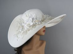 Off White Wedding Hat Kentucky Derby Hat by LadyHatsBoutique