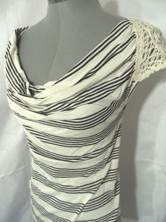 Nwt TOP DAY Drape neck Crochet Sleeve top womens SM Ivory Gray Black tee shirts in Clothing, Shoes & Accessories, Women's Clothing, Tops & Blouses | eBay