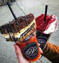 holy - WOW .. we want these and we want them now! brownie / smore / red velvet cake stuck in a straw over iced coffee- NEED
