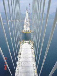 view from track to track/ Rio Antirio bridge construction, Greece
