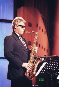 President Clinton wailing on the sax