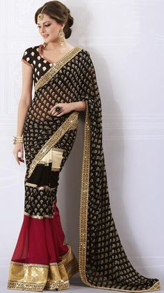 Black Sequins Party Wear Designer Saree