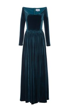 This **Luisa Beccaria** dress features a plunging scoop neck, full length sleeves, and a pleated skirt.