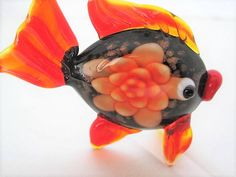 Excited to share the latest addition to my #etsy shop: Fish Murano Brooch - Orange Blown Glass - Angel Fish Glass Pin