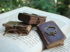 Mini Leather Book for Dollhause - FAIRY BOOK - Vintage Style - Old Leather - Bronze Decor - 3x4x0.8 cm