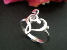 Music Love Heart Ring - Treble Clef Bass clef Ring | Meylah