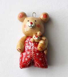 Christmas Ornament Salt Dough Teddy Bear Baby Girl  Handmade Original Keepsake Memories