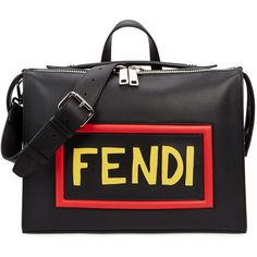 Fendi Mini Black Leather Messenger Bag ($2,865) ❤ liked on Polyvore featuring bags, messenger bags and mens leather messenger bag