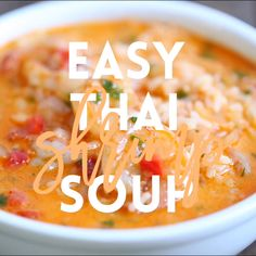 Easy Thai Shrimp Soup Skip the take-out and try making this at home – it's unbelievably easy and tastier and healthier! Seafood Recipes, Vegetarian Recipes, Dinner Recipes, Cooking Recipes, Healthy Recipes, Vegetarian Barbecue, Barbecue Recipes, Vegetarian Cooking, Cooking Tips