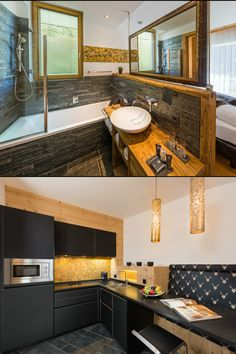 Exclusive and luxurious apartments in the alpinlodge & spa in Samnaun Switzerland in the Ski Resort Silvretta Arena. Luxury and panoramic views Luxury Spa, Apartment Design, Living Area, Contemporary Design, Bathroom, Architecture, Wood, Kitchen, Home Decor