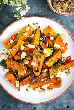 Honey-roasted sweet potato and squash with chilies, halloumi and basil oil - a simple and delicious vegetarian meal. Honey Recipes, Sweet Potato Recipes, Greek Recipes, Side Dish Recipes, Pasta Recipes, Appetizer Recipes, Tasty Vegetarian Recipes, Vegetable Recipes, Healthy Recipes